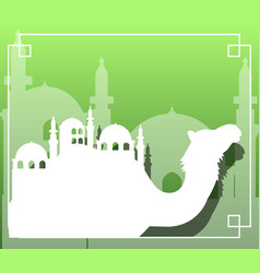 Camel and dome mosque silhouette vector
