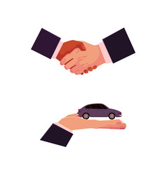 Car purchase rental concept hand and handshake vector