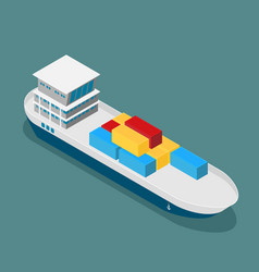 cargo ship in sea flat style vector image