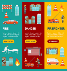 cartoon firefighting in city banner vecrtical set vector image