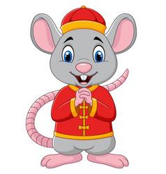 cartoon rat greeting gong xi gong xi with chinese vector image