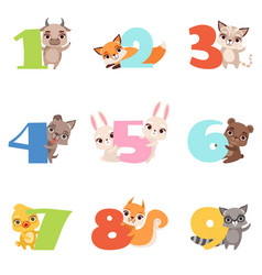 Cartoon set with colorful numbers from 1 to 9 and vector