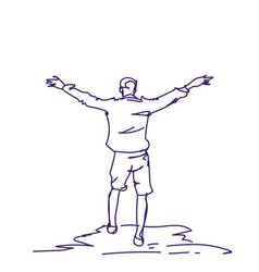 Cheerful hand drawn man with raised hands back vector