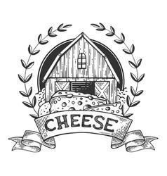 Cheese maker vintage emblem engraving vector