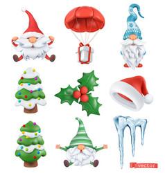 christmas cartoon 3d icon set santa claus santa vector image