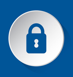 closed padlock - simple blue icon on white button vector image