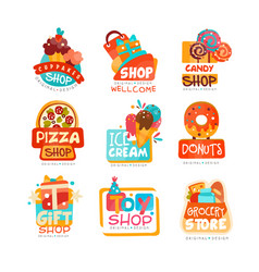 collection various shops logo templates set vector image