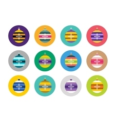 Colorful christmas balls flat icons set vector