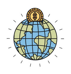 Colorful silhouette money box in globe earth world vector