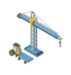 Construction machinery lifting crane working vector
