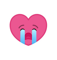 Crying heart shaped funny emoticon icon vector