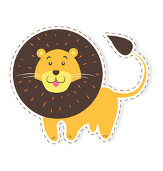 Cute lion cartoon flat sticker or icon vector
