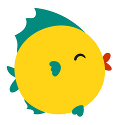 cute yellow fish on white background vector image