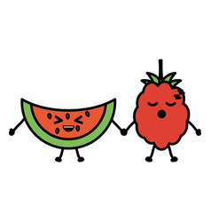 delicious watermelon and blackberry kawaii vector image