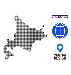 Dotted hokkaido island map vector