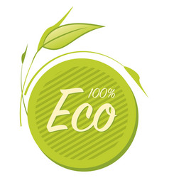 eco food label with leaves vector image