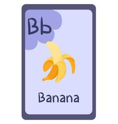 Education flash card abc letter b - banana vector