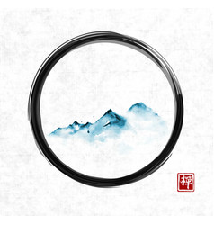 Far blue mountains in fog in black enso zen circle vector