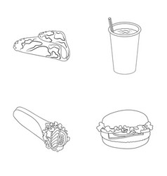 fast meal eating and other web icon in outline vector image