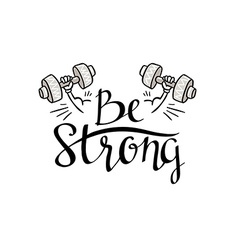 Fitness bodybuilding hand drawn label with stylish vector