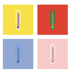 Flat icon design collection weather thermometer vector