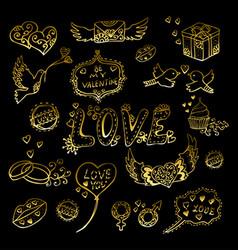 Golden valentines elements set vector