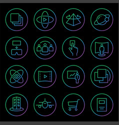 gradient rounded line icons for virtual reality vector image