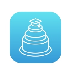 Graduation cap on top of cake line icon vector image