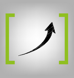growing arrow sign black scribble icon in vector image