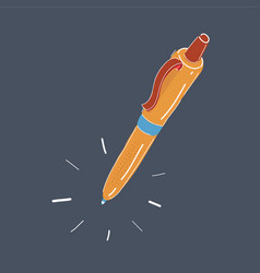 hand drawn pen on dark vector image