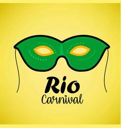 happy brazilian carnival day green carnival mask vector image