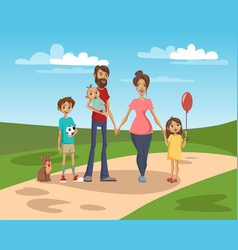 Happy family on a background of nature scenery vector