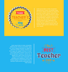 Happy teachers day set yellow vector