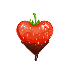 heart shape strawberry in chocolate vector image