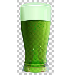 high glass of green irish beer on transparent vector image