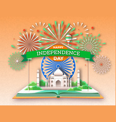 Independence day india open book vector