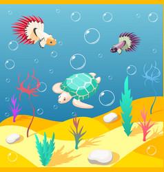 Inhabitants of underwater world background vector