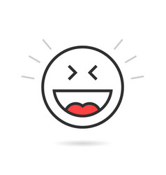 Joyful thin line emoji icon with shadow vector
