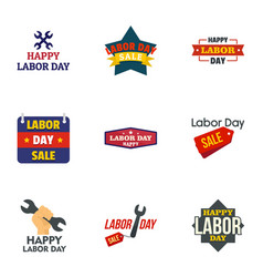 labor day final sale logo set flat style vector image