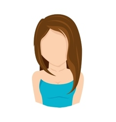 lady girl front face hair vector image