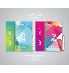 Magazine cover set with pattern of geometric vector