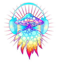 Magic mushrooms over sacred geometry psychedelic vector