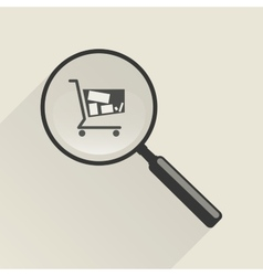 Magnifier icon and shopping trolley vector image