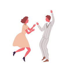 man and woman performing retro dance elements vector image