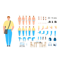 Man constructor casual male character set vector