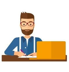 Man using laptop for education vector image