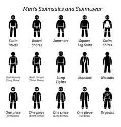 Men swimsuits and swimwear stick figures depict vector