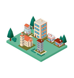 Mini trees and buildings neighborhood isometric vector