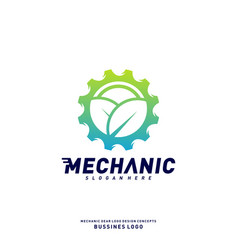 nature gear logo design concepts mechanical gear vector image
