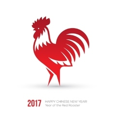 New Year 2017 card with red rooster icon vector image